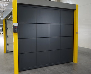 Sectional garage doors SD-37, black color.